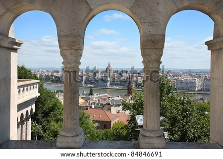 view of Budapest, Hungary from Fishermen's Bastion - stock photo