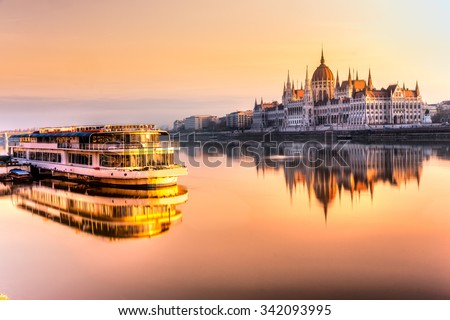 View of Budapest parliament at sunrise, Hungary - stock photo