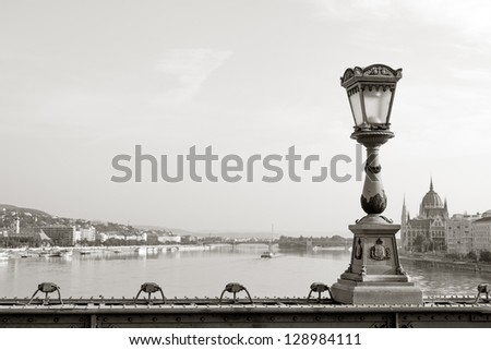 View of Budapest Parliament building from Chain bridge - stock photo