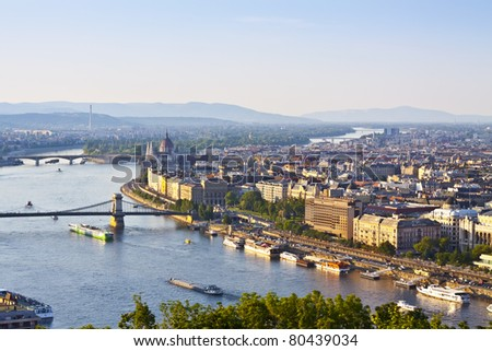 view of Budapest with Danube - stock photo