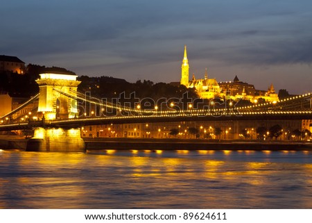 view of Budapest with Danube and Buda hill - stock photo
