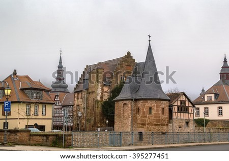 view of Budingen with Schlaghaus, Germany