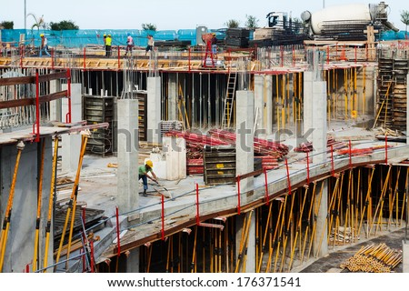 View of building new concrete houses - stock photo