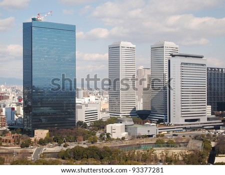view of buildings and cityscape, Japan - stock photo