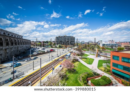 View of buildings and Light Rail tracks in Midtown Baltimore, Maryland.