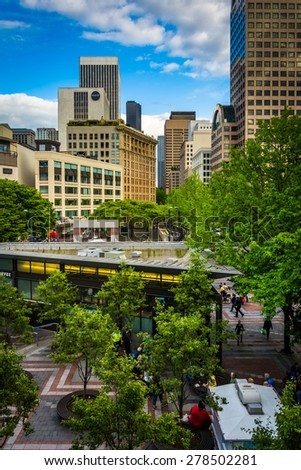 View of buildings and streets in the Retail Core, in downtown Seattle, Washington. - stock photo