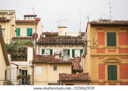 View of buildings and tiled roofs in a  residential area of Florence, Italy