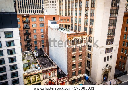 View of buildings on Lombard Street from a parking garage in Baltimore, Maryland.