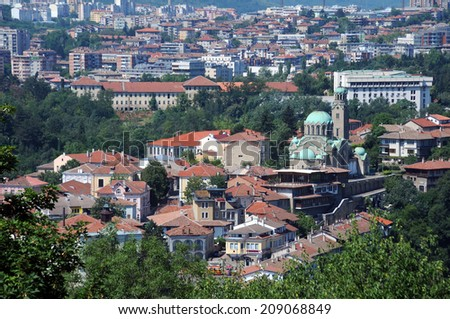 View of Bulgarian city of Veliko Tarnovo and Cathedral of the Birth of Holy Mother  - stock photo