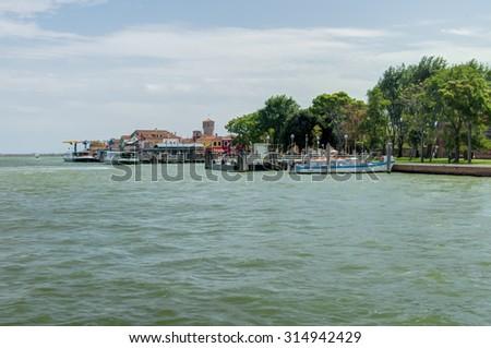 View of Burano island from Mazzorbo, Venice, Italy - stock photo