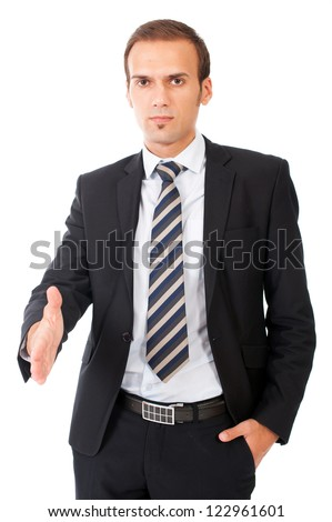 view of business man extending hand to shake - stock photo