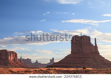 View of buttes and mesas of Monument Valley Navajo Tribal Park