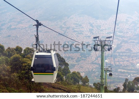View of cable car high above Medellin, Colombia - stock photo