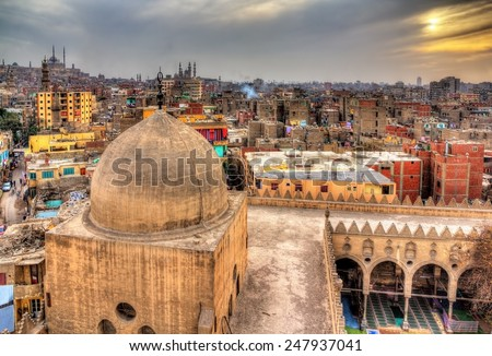 View of Cairo from roof of Amir al-Maridani mosque - Egypt - stock photo