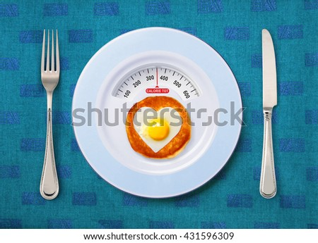 view of calorie tot in fried egg that on white plate - stock photo