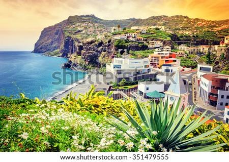 View of Camara de Lobos, small village on Madeira island - stock photo