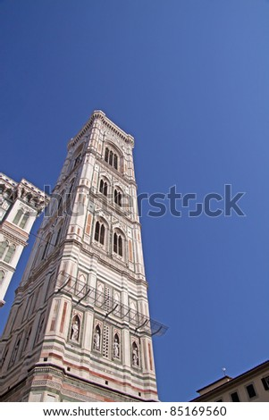 View of Campanile di Giotto, clocktower of Duomo of Florence