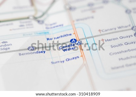 View of Canada Water station on a London subway map. (selective colouring) - stock photo