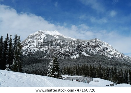 View of canadian rocky mountains in spring while driving along the highway 40 in the kananaskis country, alberta, canada