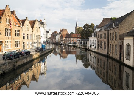 View of canal,  and houses at Bruges, Belgium