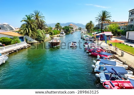 View of canal, one of many in Empuriabrava. Costa Brava, Spain - stock photo