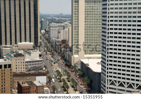 view of Canal Street, New Orleans, Louisiana, business district as seen from the top of the World Trade Center building - stock photo