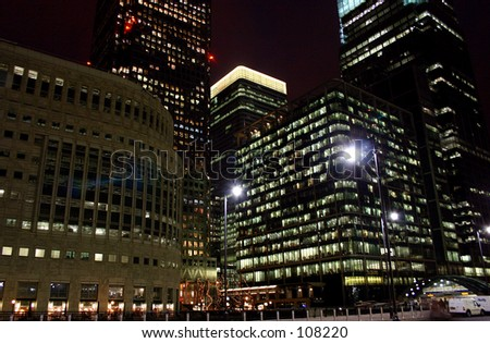 View of Canary Wharf at night - stock photo
