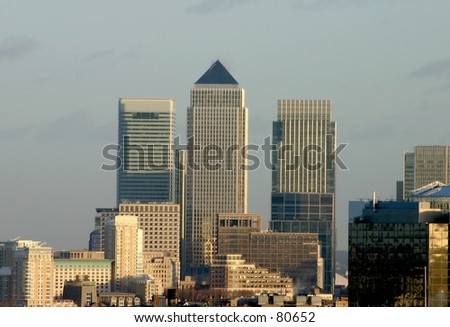 View of Canary Wharf from the distance - stock photo