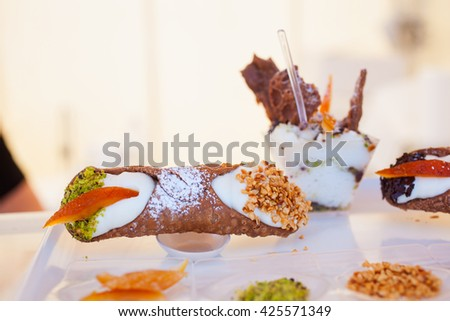 View of Cannoli, famous sicilian pastry - stock photo