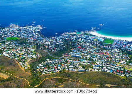 View of Cape Town city with a coastline on a clear day - stock photo