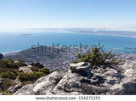 View of Cape Town from Table Mountain in South Africa - stock photo