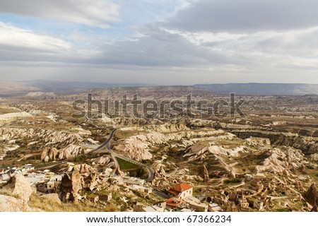 View of Cappadocia Valleys From the Highest Point of Uchisar in Anatolia, Turkey - stock photo