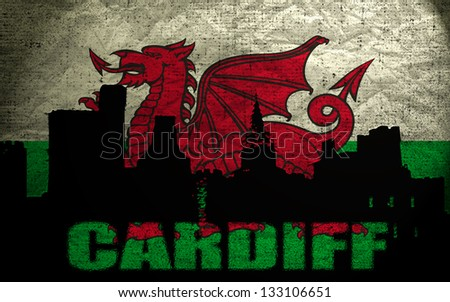 View of Cardiff on the Grunge Welsh Flag