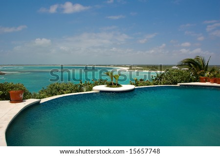 View of Caribbean from poolside. - stock photo
