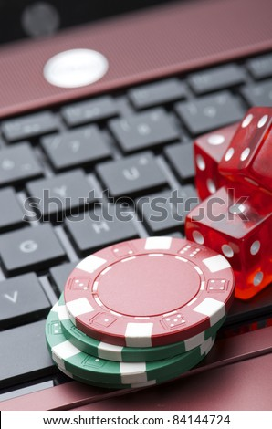 view of casino chips to gamble and play online - stock photo