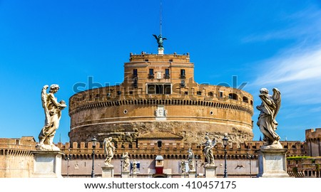 View of Castel Sant'Angelo in Rome, Italy - stock photo