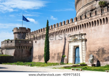 View of Castel sant angelo in Rome with european union flag on tower - stock photo