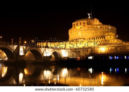 view of  Castel Sant' Angelo night in Rome, Italy - stock photo