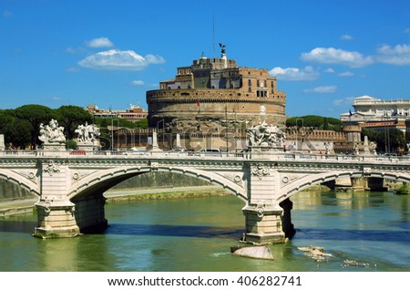 View of castel Sant' Angelo - Rome, Italy - stock photo