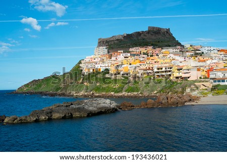 View of Castelsardo fortress and village from the beach, Sardinia, Italy - stock photo