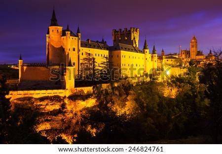 view of  Castle of Segovia in november night. Castile and Leon, Spain - stock photo