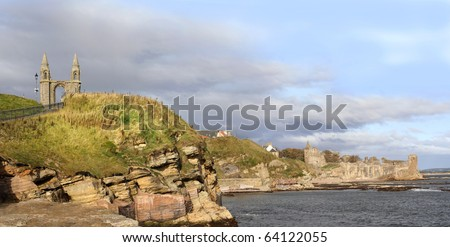 View of castle ruins and cathedral, St. Andrews, Fife, Scotland - stock photo