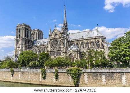 View of Cathedral Notre Dame de Paris - a most famous Gothic, Roman Catholic cathedral (1163 - 1345) on the eastern half of the Cite Island.