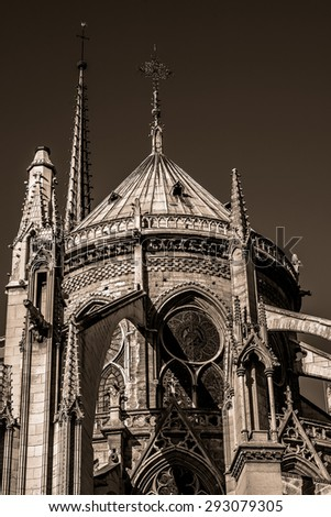 View of Cathedral Notre Dame de Paris - a most famous Gothic, Roman Catholic cathedral (1163 - 1345) on the eastern half of the Cite Island. Paris, France. Vintage.  - stock photo