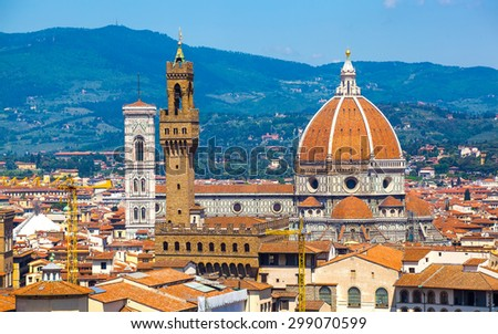 View of Cathedral of Santa Maria del Fiore and Palazzo Vecchio from Michelangelo's hill, Florence, Italy - stock photo