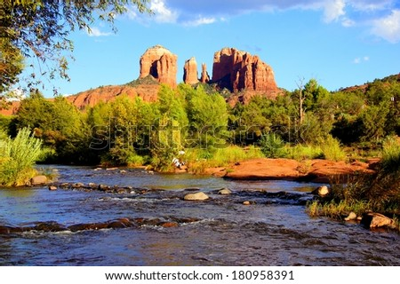 View of Cathedral Rock and river near dusk, Sedona, Arizona, USA - stock photo