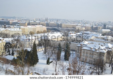 View of center of Prague from the grounds of Prague Castle, Czech Republic.