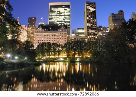 View of Central Park and New York City skyline. - stock photo
