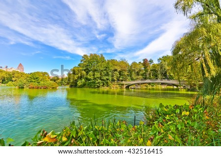 View of Central Park in autumn in New York City. - stock photo