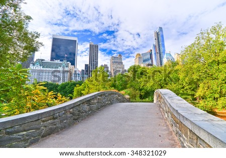 View of Central Park in New York City in autumn - stock photo